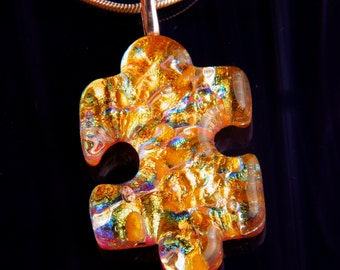 Handmade Dichroic Fused Glass Pendant with Necklace ...autism puzzle piece...