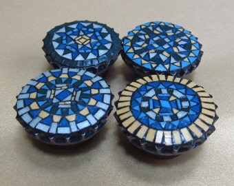 Miniature Mosaic Refrigerator Magnets - Set of 4