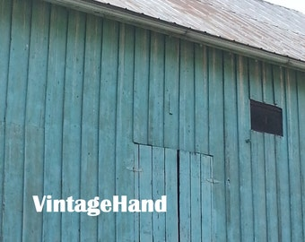 Turquoise barn Digital download / Vintage teal painted barn with metal roof / Photograph / Original art download / Farm / Rustic / Decor