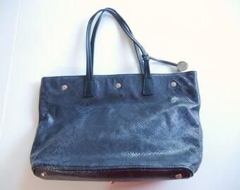 Furla purse / blue snakeskin / leather tote / Designer Handbag / indigo silver / Leather purse / autumn / Spring / authentic