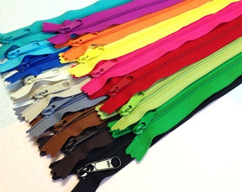 SALE - Sixteen 12 inch Handbag zippers with long pull - neutrals, red, pink, yellow, orange, green, purple fuchsia, bright aqua, turquoise