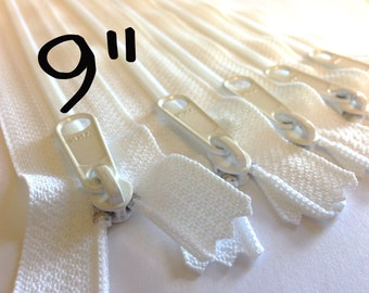 9 inch YKK Handbag zippers with extra long pull, FIVE pcs, YKK white color 501