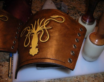 "GOT house Greyjoy ""we do not sow"" leather bracers, archery guard, gauntlets, armor"