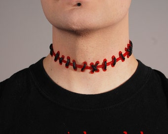 Frankenstein Stitch Choker  Necklace ,Rings and Bracelets  Combination Set(5pc) - Halloween Zombie- 5 PC - Bright Red /Black