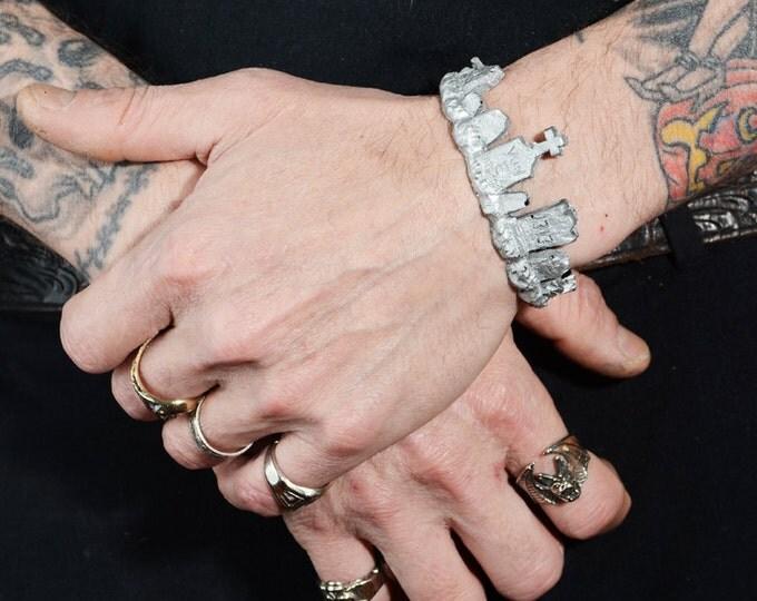 Gothic Jewelry - Cemetery Tombstone bracelet -silver
