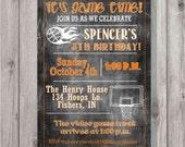 Digital Chalkboard Style Basketball Birthday Party Invitation DIY Printable