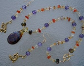 DRAGON'S LAIR Necklace and Earrings Set (Handblown Glass, Amethyst, Citrine, Carnelian, Czech Glass)