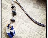 Irish Blue & White Sea Pottery Bookmark - Hematite, Clear Quartz, Sodalite...