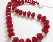 Bright Red Necklace, Ruby Red Quartz Necklace, 18 inch Red Necklace