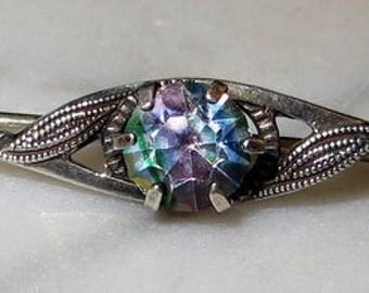 Scandinavian 830 Silver Iriz Quartz Pin Brooch
