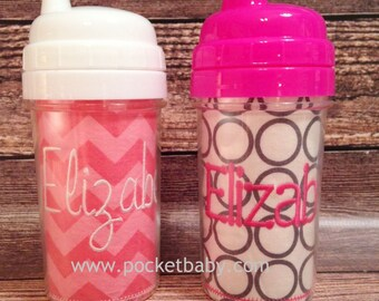 Personalized Sippy Cup - White, Blue, Green or Pink Lid - You Choose your Fabric - by Pocketbaby