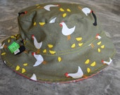 Farm Fun Unisex Reversible Bucket hat with built-in elastic for an adjustable fit, boys bucket hat, sunhat, summer hat, toddler hat