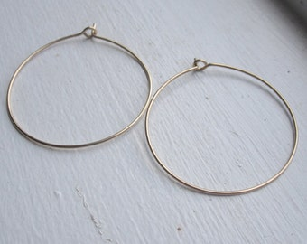 Thin wire hoop earrings, plain wire hoops, hammered wire hoop earrings, basic hoop earrings, 2 inch hoops 0113