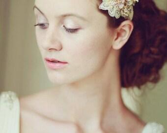 Gold lace bridal headband, headpeice, wedding, vintage, flower, rhinestone, pearl, hair accessories, bride,