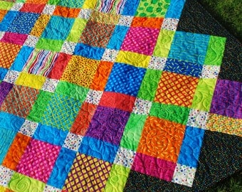 Twin Patchwork Quilt dorm bedding  Color Explosion 64 by 98 bright primary color decor blanket coverlet Quiltsy Handmade