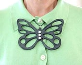 Big Statement Butterfly Necklace Ceramic - big bold oversize handmade sculptured necklace - MADAME BUTTERFLY