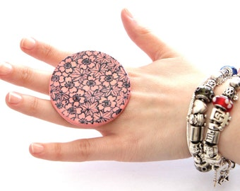 Boho Fashion Ring Ceramic Ring Handmade - big bold oversize adjustable cocktail ring -  PINK BLUSH - 2.3 inch
