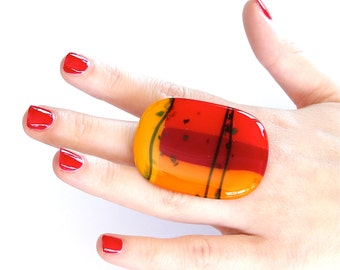Glass Ring Fall Fashion  - big bold oversize handmade statement cocktail ring  - TUTTI FRUTTI - 2 inch