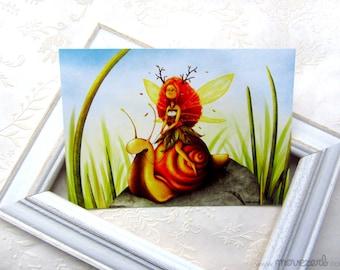 Snail riding - Postcard