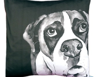 Boxer dog cushion pillow cover in monochrome