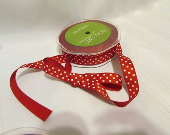 RED with WHITE DOTS Grosgrain Ribbon