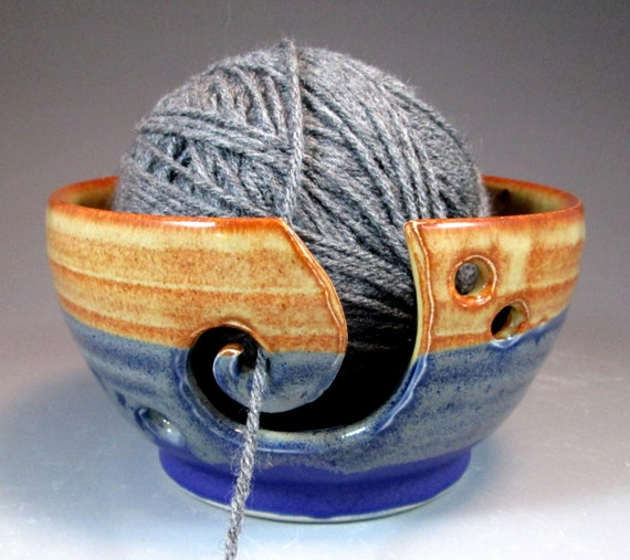 Yarn Bowl in Lapis and Shino Glazes- stoneware thrown on Potter's Wheel- ready to ship