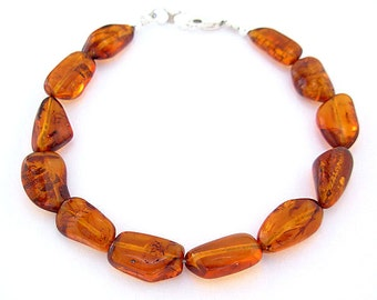 Natural Amber Bracelet with Sterling Silver Clasp - Small to Plus Size Bracelet - Small to Extra Large Amber Bracelet, 7, 8, 9, or 10 Inches