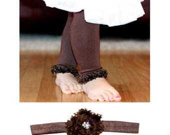 Brown Baby Leg Warmers and Headband
