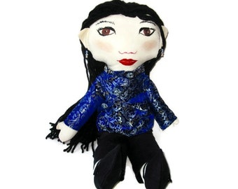 Custom  Chinese Girl Rag Doll With Cheongsam- Asian Girl Doll.