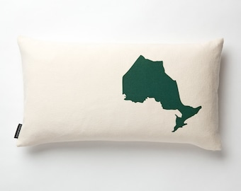 Map of Ontario Pillow in Off-white with fill
