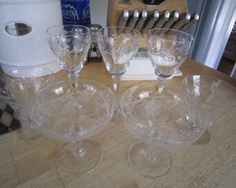 Etched Glass Mixed Matching Stemware