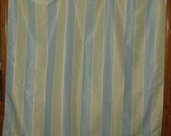 VINTAGE blue an green stripe fabric shower curtain