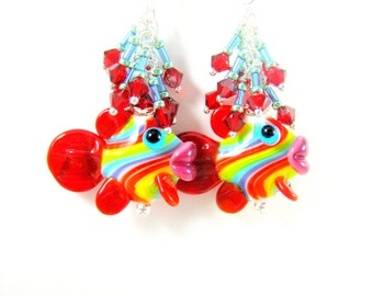 Fish Earrings, Rainbow Earrings, Lamwork Earrings, Fish Jewelry, Colorful Earrings, Red Crystal Earrings, Pride Earrings - Rainbow Trout