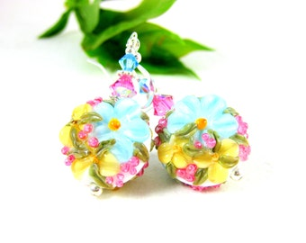 Floral Earrings, Blue Yellow Pink Earrings, Lampwork Earrings, Floral Jewelry, Flower Earrings Pastel Earrings Glass Earrings - Mother's Day