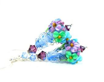 Floral Earrings, Nature Earrings, Blue Purple Green Earrings, Floral Jewelry, Lampwork Earrings, Glass Earrings, Flower Earrings - Juliet