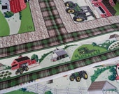 Special listing for Trina. John Deere 4 scenes with borders Farm Panel fabric.