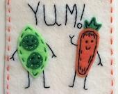 Dynamic Duos Peas and Carrots Eco Felt Applique Funny Onesie Bodysuit