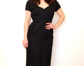 French Vintage 1950s hourglass black wiggle dress - medium large M L