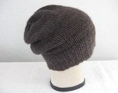 Brown, Hand Knit, Slouchy Beanie. Watch Cap. Men or Women. Winter Accessories.