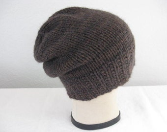 Brown, Hand Knit, Slouchy Beanie. Watch Cap. Men or Women. Winter Accessories.