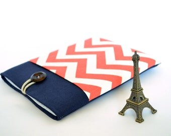 """12"""" MacBook Case, Laptop Sleeve, 11, 12, 13.3, 15 or 15.6 inch Navy Linen Laptop Case with Pocket - French Chevron"""