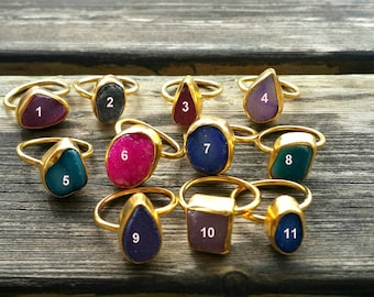Druzy Ring, Adjustable, Gold Plated