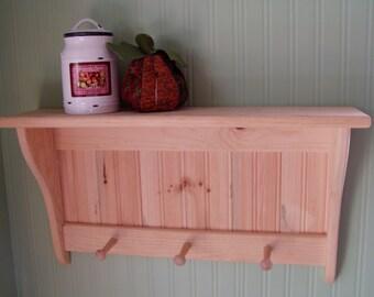 Shaker Style Primitve Coat Rack Wood Wall Shelf