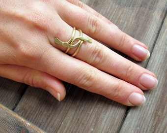 Twist - Hand crafted brass stacking ring Duo - Artisan Tangleweeds Jewelry