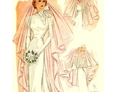1930's Vintage Wedding Bridal Veil Sewing Pattern Size 22-inch Bride Head Piece
