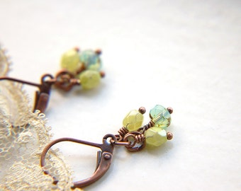 Lever Back Cluster Earrings Green and Turquoise Czech Glass Beaded - On the Brook.