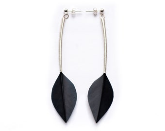 Minimal Long Drop Real Feather Earrings with Silver Stems on Studs in Shiny Jet Black Leaf Shapes