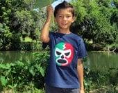 Luchador Rojo + Verde - Red + Green Mexican Wrestler Toddler T-Shirt