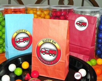 Fire Truck Birthday Party Favor Goody Bags w/Sticker Seals. Fire Truck Goody Bags. Loot Bags. Fire Truck Party Bags. Kid Favor Bags 10 Count