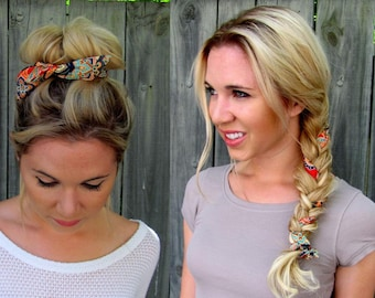 Bun Wire Wrap PonyTail Braid In for Hair Pin Up Hair Braided Hair Wrap - Red Orange & Blue Paisley or Choose Your Color
